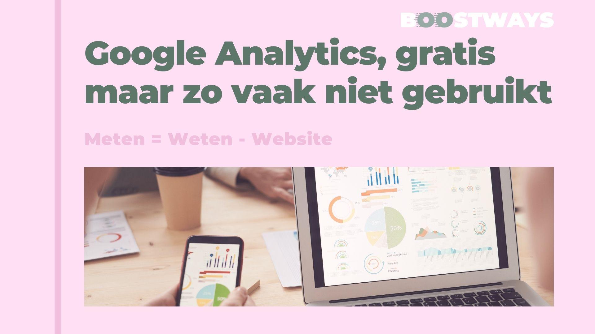 Google Analytics, gratis maar zo vaak niet gebruikt.